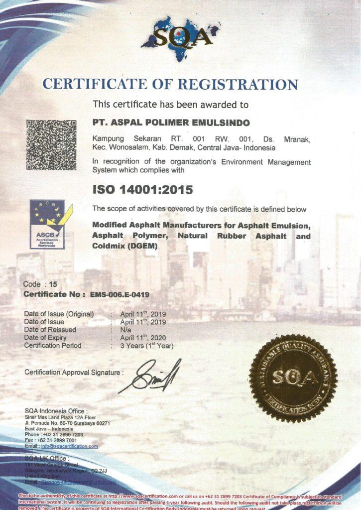 Memiliki Sertifikat ISO 14001-2015 – PT. ASPAL POLIMER EMULSINDO