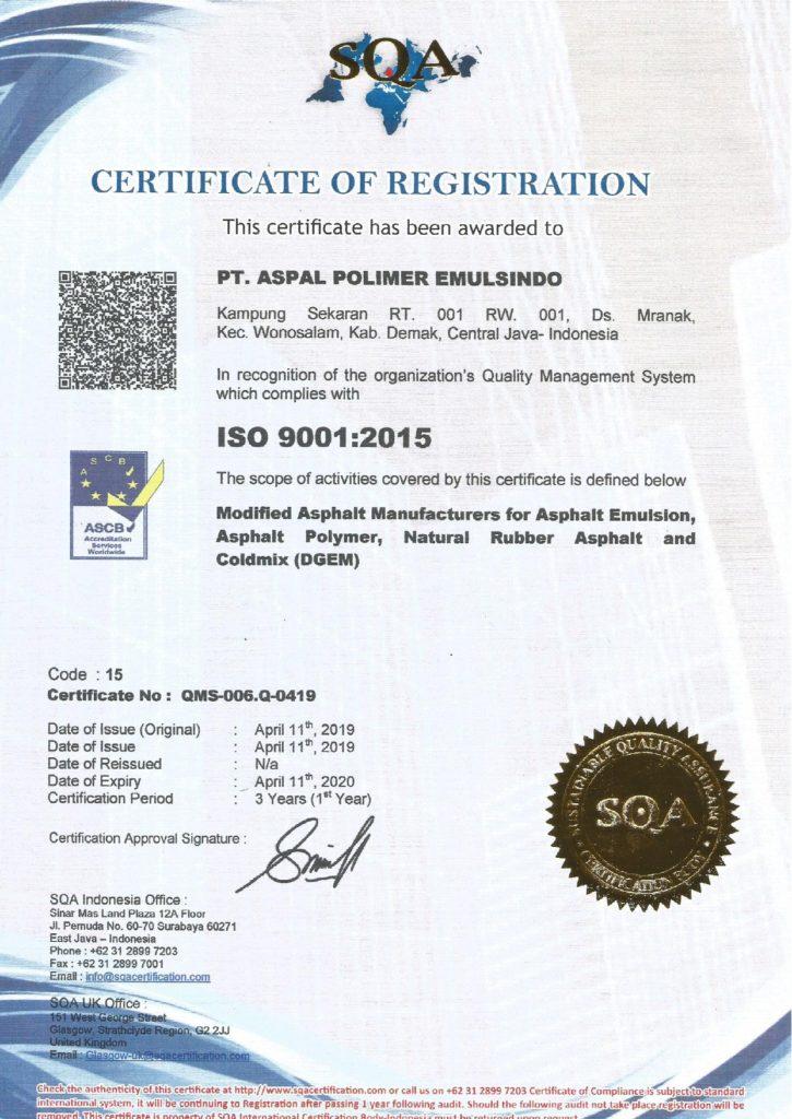 Memiliki Sertifikat ISO 9001-2015 – PT. ASPAL POLIMER EMULSINDO